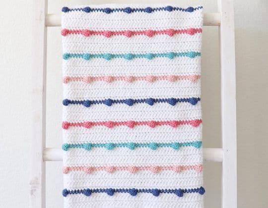 Crochet Bobble Lines Baby Blanket Pattern