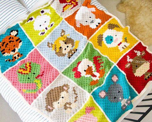 Zoodiacs C2c Crochet Afghan free pattern