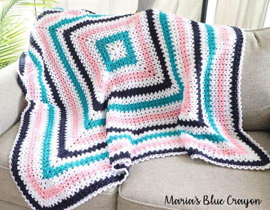 crochet The V-Stitch Granny Blanket Pattern