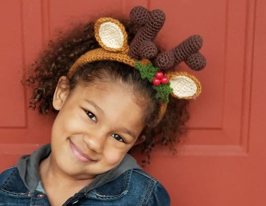 Easy crochet Festive Reindeer Headband free pattern