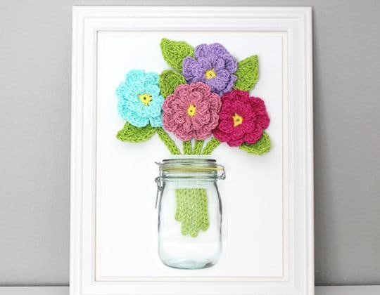 Crochet Flowers On Canvas Free Pattern