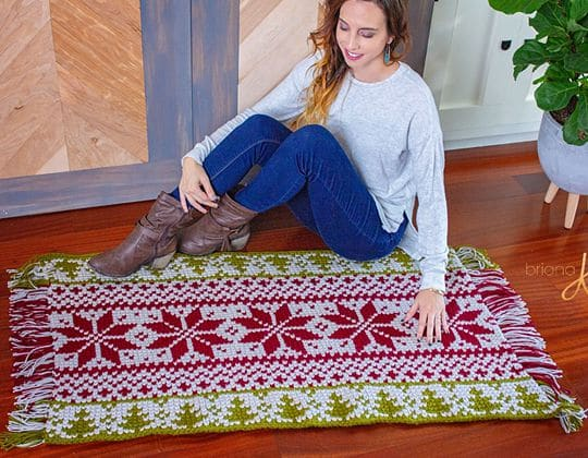 Easy crochet Holiday Fair Isle Rug free pattern