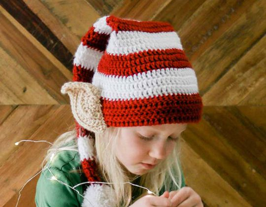 Easy crochet Santa's Helper Elf Hat free pattern
