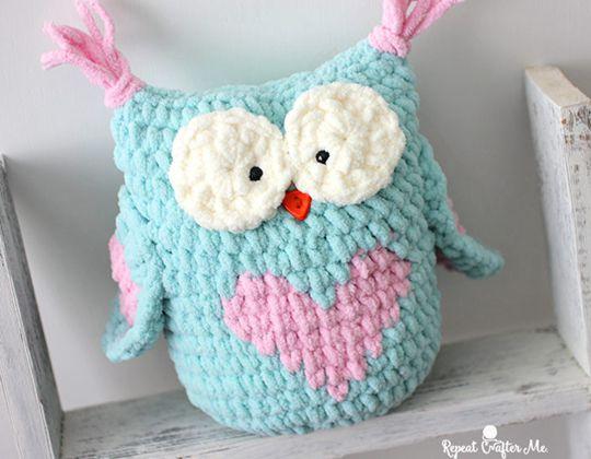 Valentine Heart Crochet Owl Free Pattern