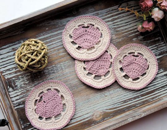 Crochet Belle Heart Coaster Free Pattern