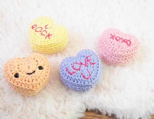 Crochet CANDY CONVERSATION HEARTS KEYCHAINS FOR VALENTINE'S DAY Free Pattern
