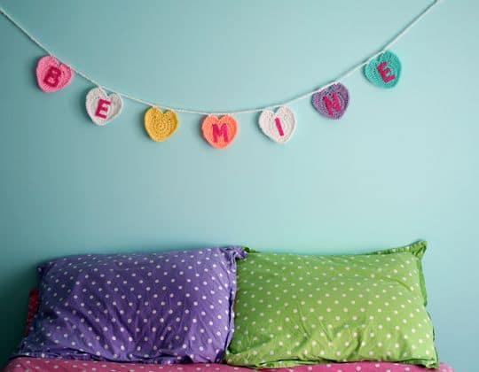Crochet Conversation Heart Garland Free Pattern