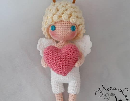 Crochet I give you my heart Valentine's Cupid Free Pattern