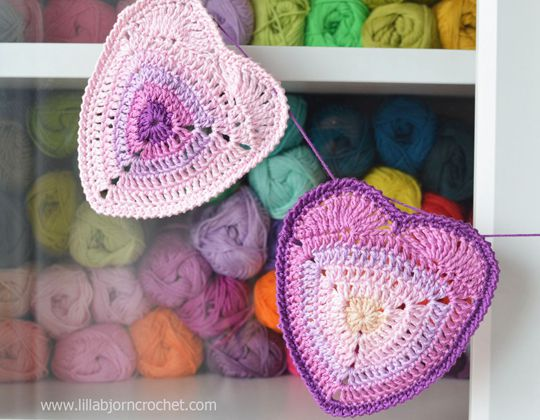 Crochet Ombre Heart Coaster Free Pattern