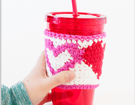 Crochet TAPESTRY HEART CUP COZY Free Pattern