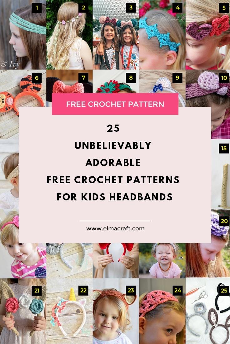 25 Unbelievably Adorable FREE Crochet Patterns for Kids Headbands