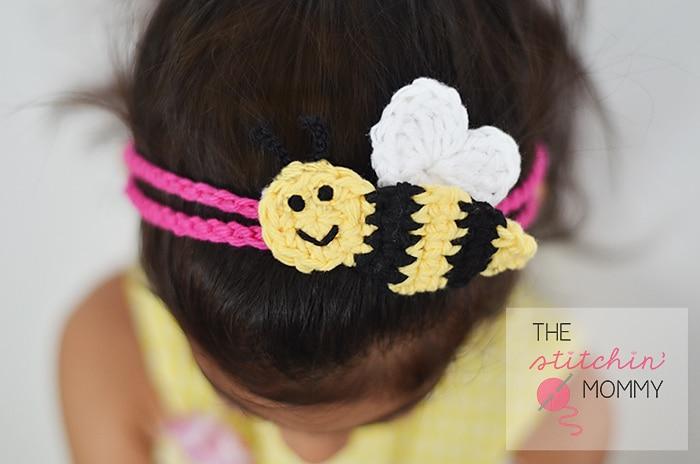 Crochet Bee Mine Headband free pattern