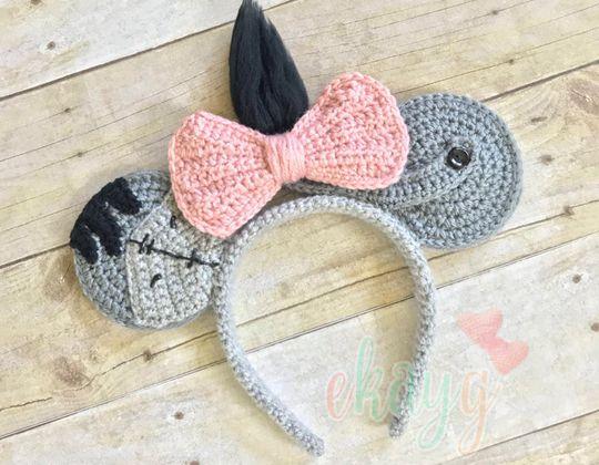 Crochet Eeyore Mouse Ears free pattern