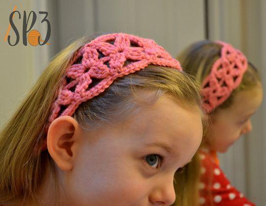 Crochet Simple Flower Headband free pattern