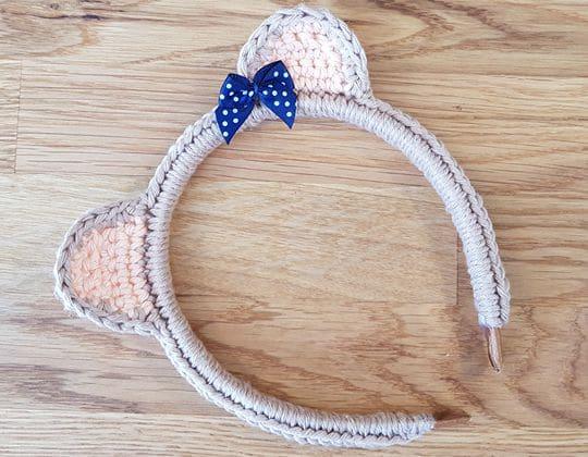 Crochet Teddy Bear Headband free pattern