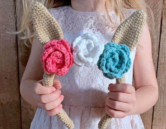 Crochet Bunny Headband free pattern