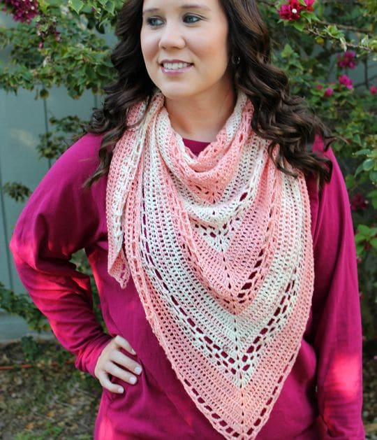 Crochet Cherry Blossom Triangle Shawl free pattern