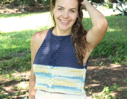 Crochet Cablework Crop easy pattern