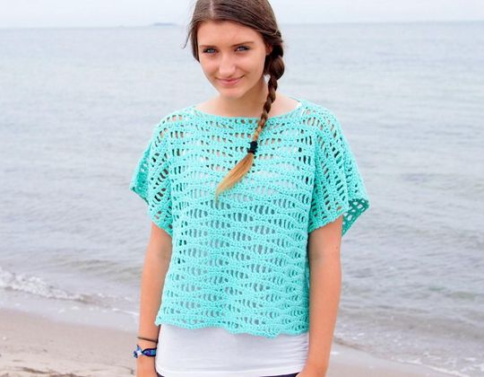 Crochet Waves Tee with Kimono Sleeves easy pattern