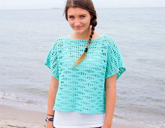 Crochet Waves Tee with Kimono Sleeves easy pattern