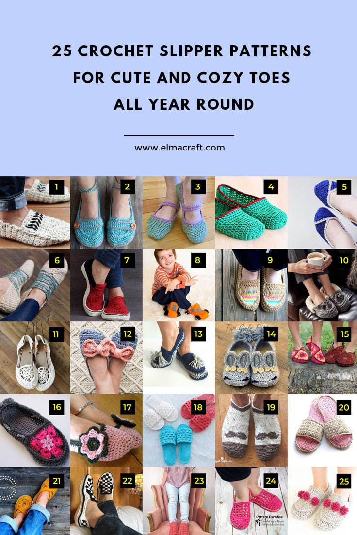 25 Crochet Slipper Patterns for Cute and Cozy Toes All Year Round