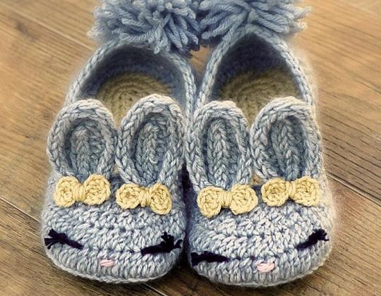 Crochet Bunny House Slippers easy pattern