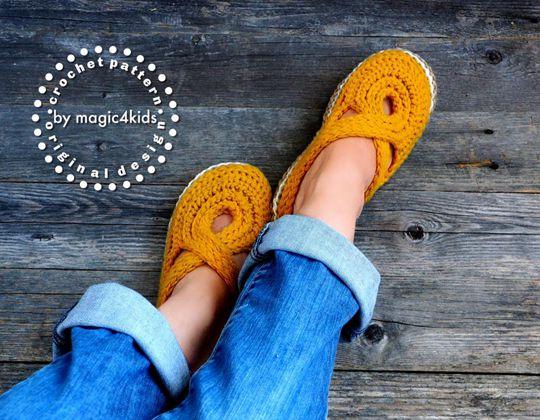 Crochet Knit-Look Twisted Slippers Clogs easy pattern