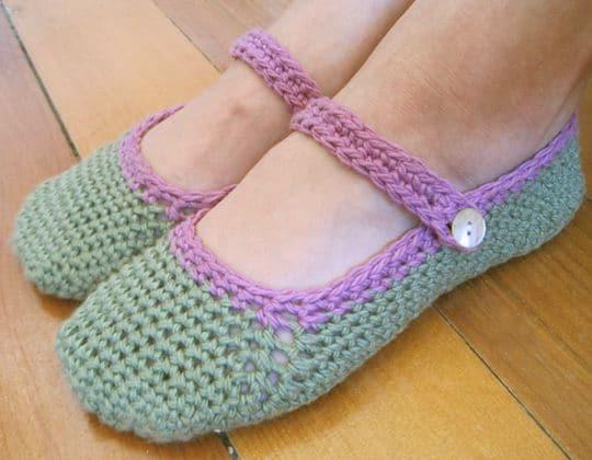 Crochet Mary Jane Slippers free pattern