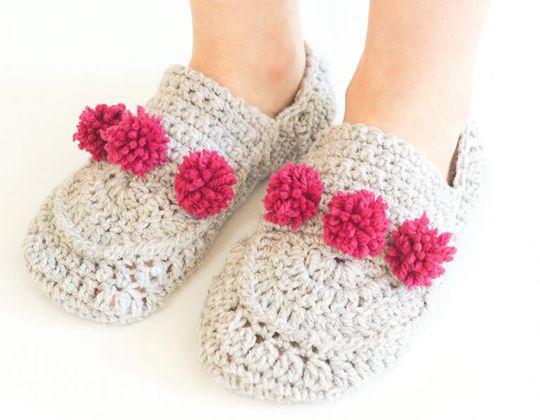 Crochet Mini Pom Pom Slippers free pattern