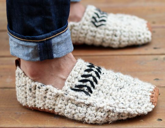 Crochet  Modern Men's Slippers free pattern