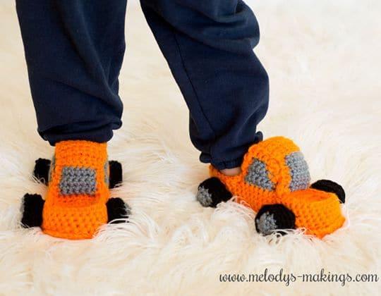 Crochet Monster Truck Slippers free pattern