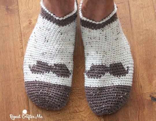 Crochet Mustache Slipper Socks free pattern