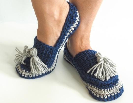 Crochet Tassel Slip-Ons Slippers free pattern