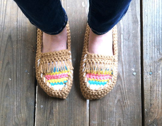 Crochet Tribal Moccasins Slippers free pattern