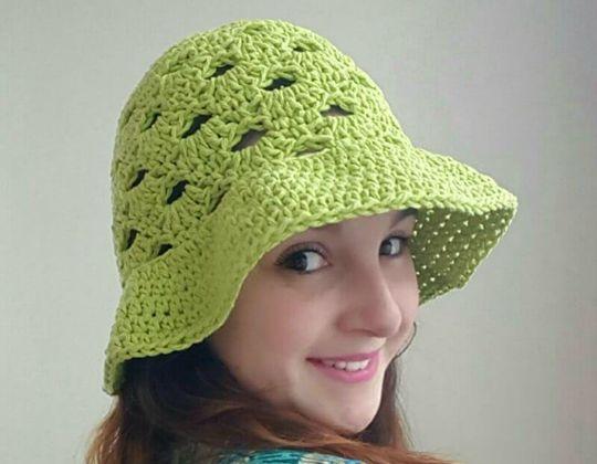 Crochet Stacked Shells Floppy Sun Hat free pattern