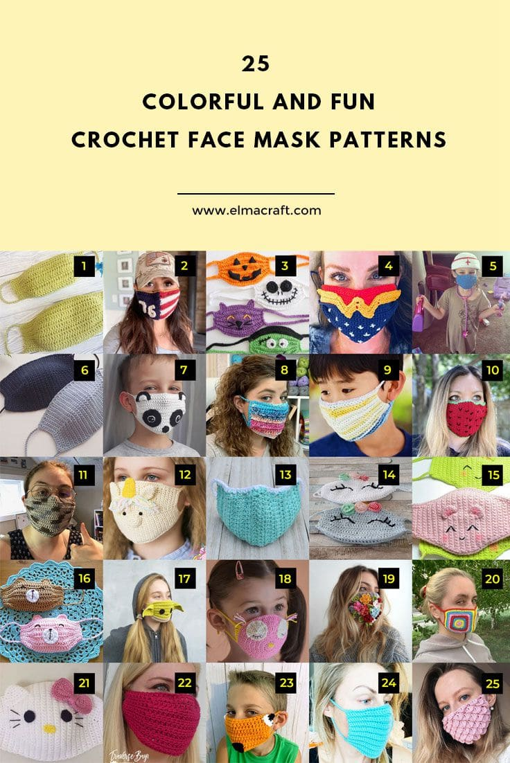 25 Colorful and Fun Crochet Face Mask Patterns