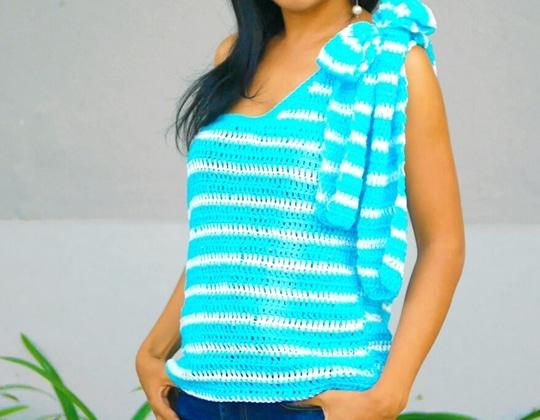 Crochet Easy One Shoulder Summer Top free pattern