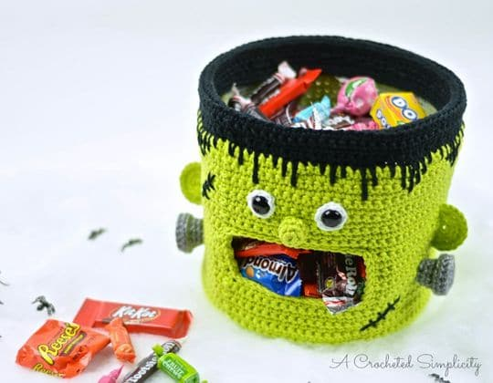 Crochet Frankenstein Candy Bowl free pattern - Crochet Pattern for Halloween