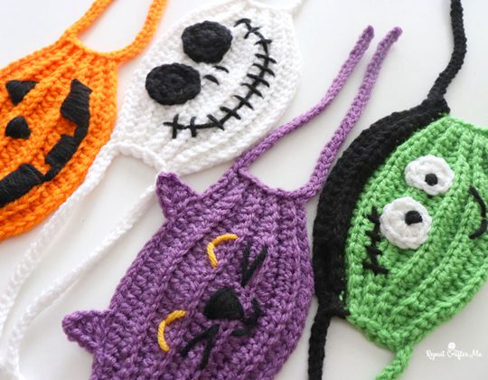 Crochet Halloween  Face Masks free pattern - Crochet Pattern for Halloween