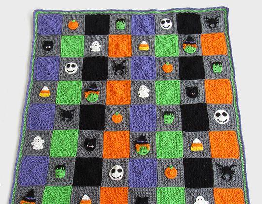 Crochet Halloween Granny Square Blanket free pattern - Crochet Pattern for Halloween