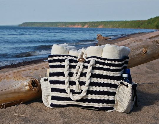 Crochet Nautical Knots Beach Tote Bag easy pattern