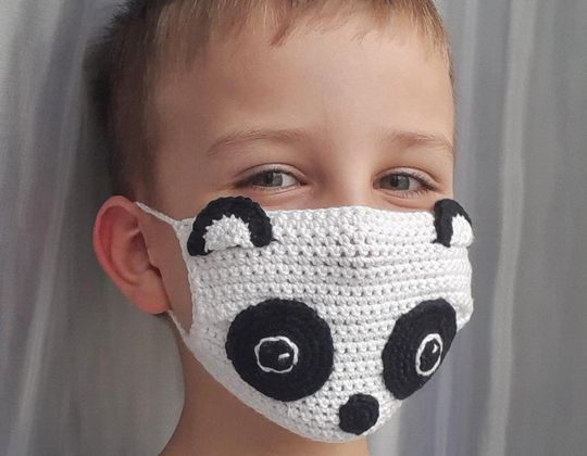 Crochet Panda Face Mask easy pattern - Crochet Pattern for Face Mask