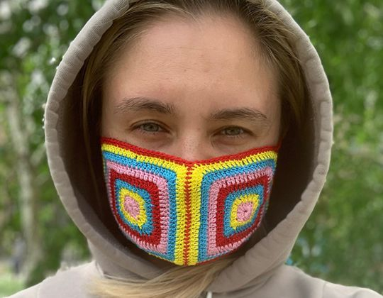 Crochet Rainbow Face Mask easy pattern - Crochet Pattern for Face Mask