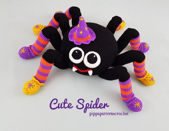 Crochet Spider Cushion Easy pattern - Crochet Pattern for Halloween