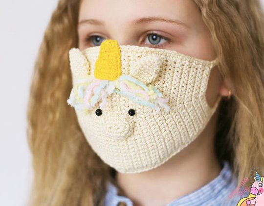 Unicorn Crochet Face Cover easy pattern - Crochet Pattern for Face Mask