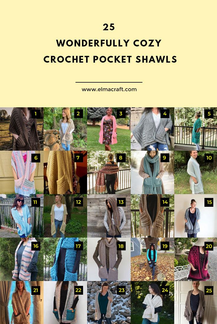 25 Wonderfully Cozy Crochet Pocket Shawls