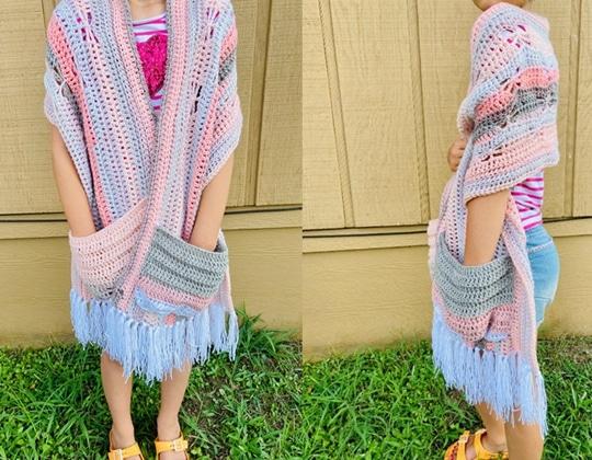 Crochet Basic Butterfly Pocket Shawl free pattern - Crochet Pattern for Pocket Shawls