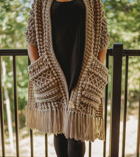 Crochet Boho Beaded Pocket Scarf easy pattern - Crochet Pattern for Pocket Shawls