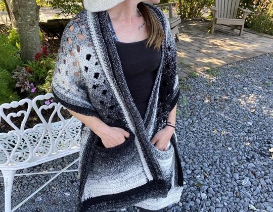 Crochet Cascade Pocket Shawl easy pattern - Crochet Pattern for Pocket Shawls
