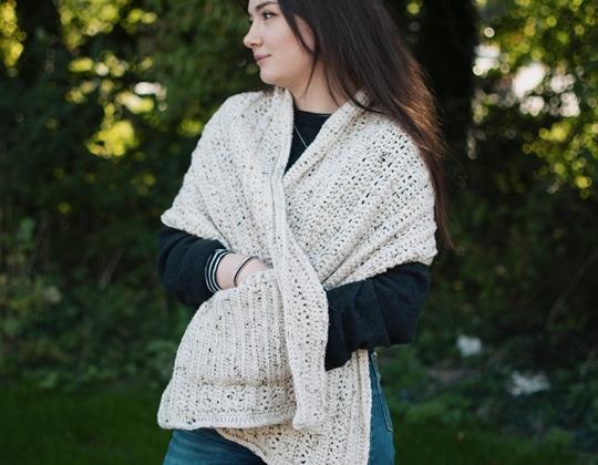 Crochet Fireside Pocket Shawl easy pattern - Crochet Pattern for Pocket Shawls